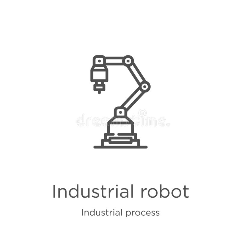industrial robot icon vector from industrial process collection. Thin line industrial robot outline icon vector illustration. royalty free illustration