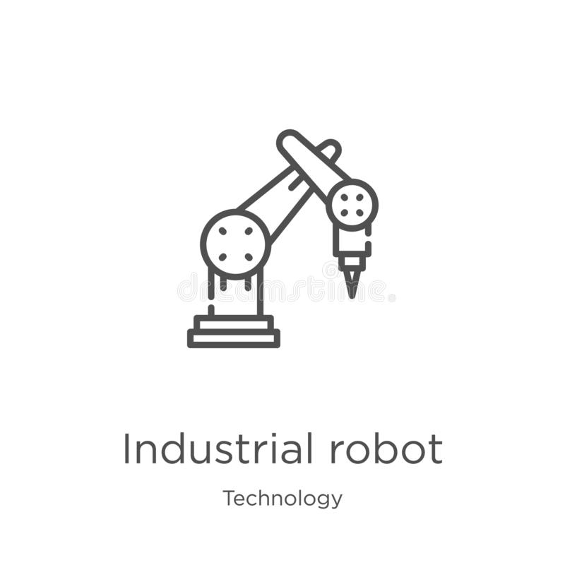 industrial robot icon vector from technology collection. Thin line industrial robot outline icon vector illustration. Outline, stock illustration