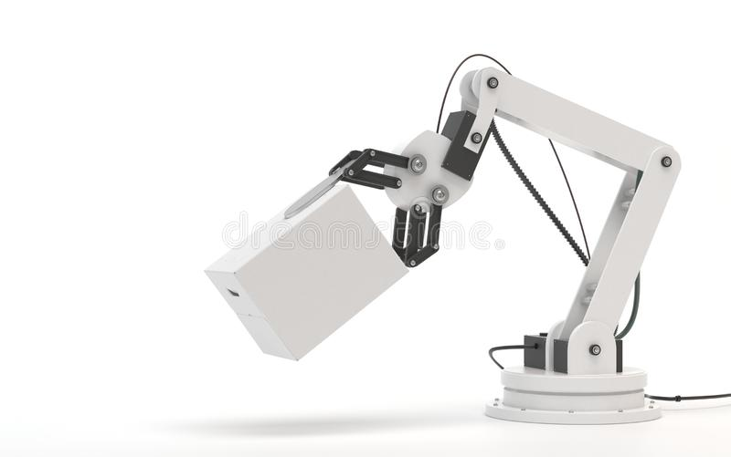 Industrial robot isolated on a white background. Robotic hand holds a white blank box. Conceptual creative image of artificial stock illustration