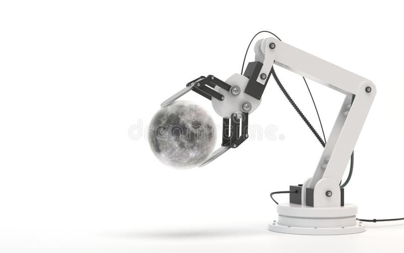 Industrial robot isolated on a white background. Robotic hand holds a moon. Conceptual creative image of artificial intelligence vector illustration