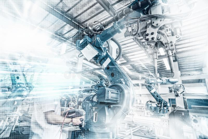An industrial robot in a workshop royalty free stock photo