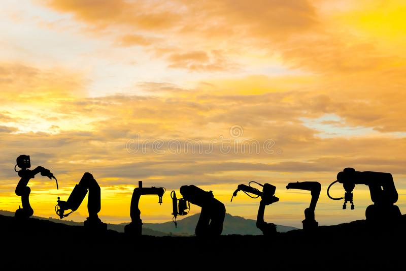 Industrial robot technology work future power silhouette. Industrial robot technology work future power of silhouette royalty free stock photo