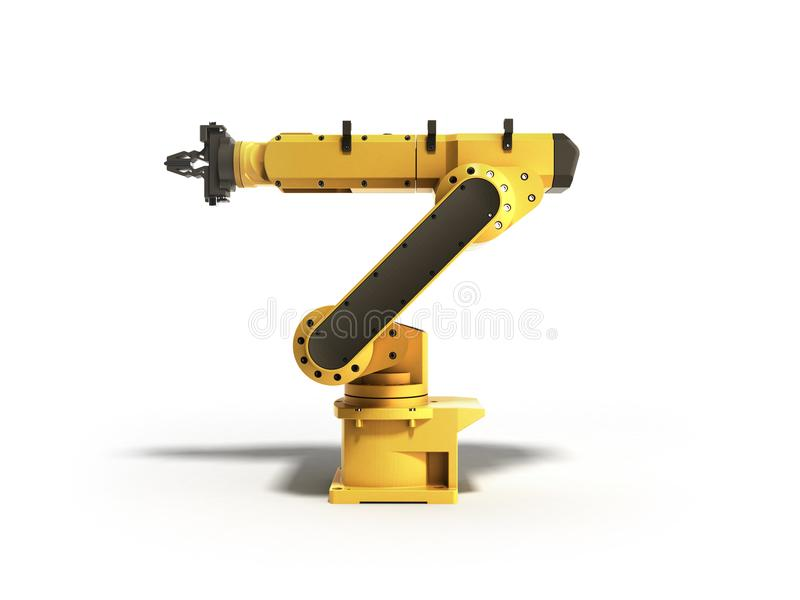 Industrial robot on white background 3D rendering royalty free illustration