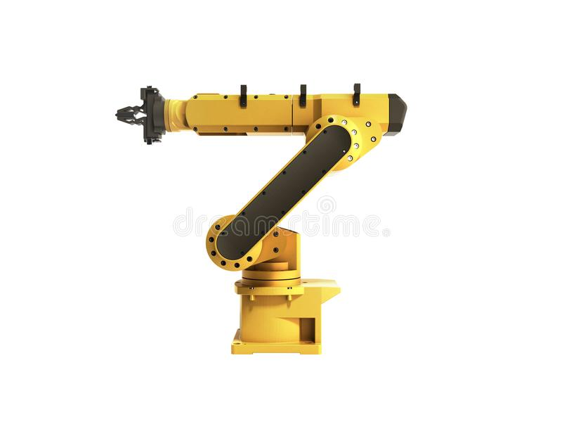 Industrial robot on white background no shadow 3D rendering vector illustration