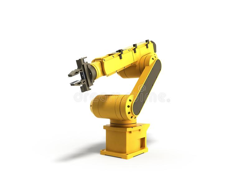 Industrial robot on white background no shadow 3D rendering stock illustration