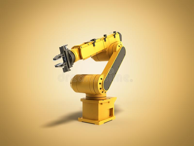 Industrial robot on yellow background 3D rendering stock illustration