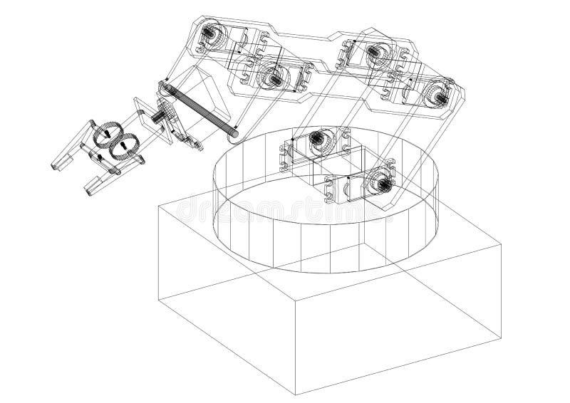 Industrial Robotic Arm Architect Blueprint - isolated. Shoot Of The Industrial Robotic Arm Architect Blueprint - isolated royalty free illustration
