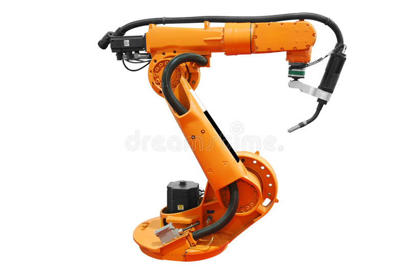 Industrial robotic arm isolated royalty free stock photo