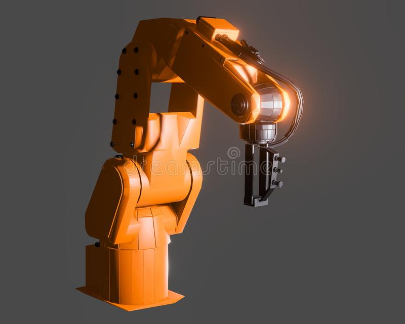 Industrial robotic arm isolated. On grey background. 3D illustration stock illustration