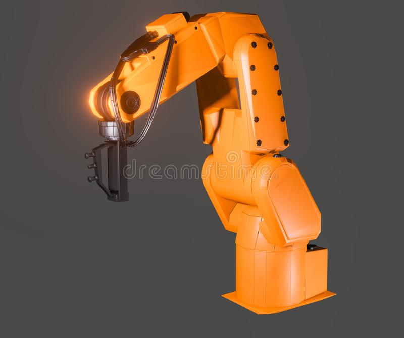 Industrial robotic arm isolated. On grey background. 3D illustration vector illustration