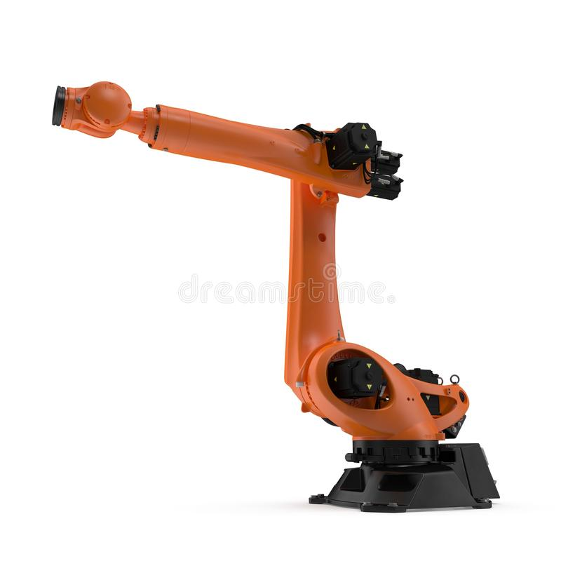 Industrial Robotic Arm Isolated On White  3D Illustration Stock
