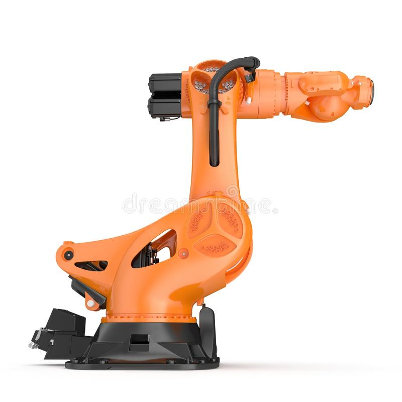 Industrial Robotic Arm isolated on white. 3D illustration. Industrial Robotic Arm isolated on white background. 3D illustration stock illustration