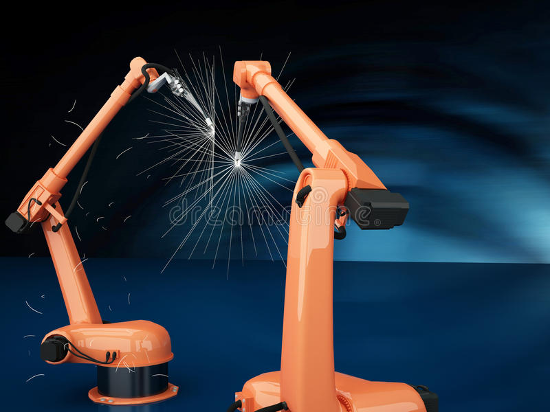 Industrial Robotic Arms royalty free illustration