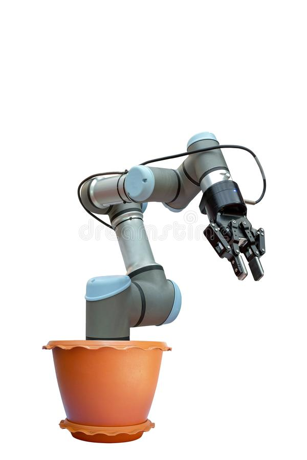 Industrial robotics in a potted plant stock image