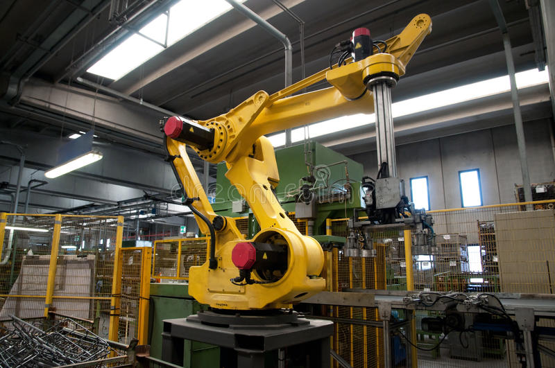 Industrial Robots - Automation lines. Industrial automation lines with robots stock photo