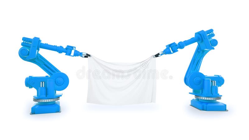 Industrial robots with a banner. Two industrial robots holding a banner made out of a piece of fabric royalty free stock photography