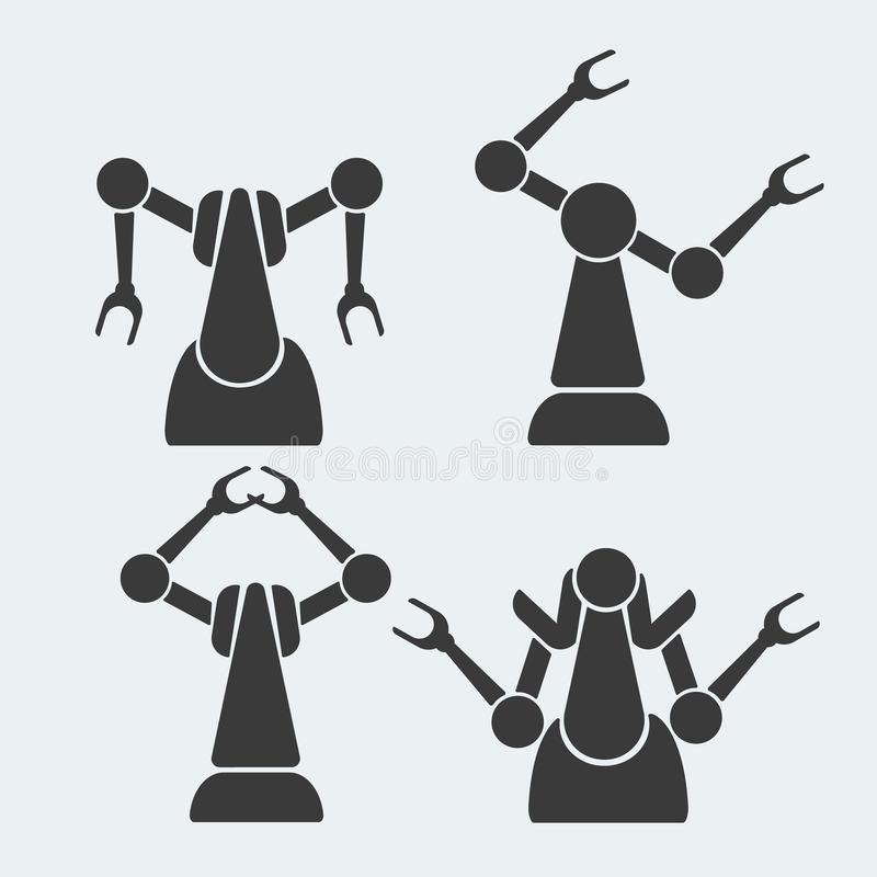Industrial robots icons set for web design royalty free illustration
