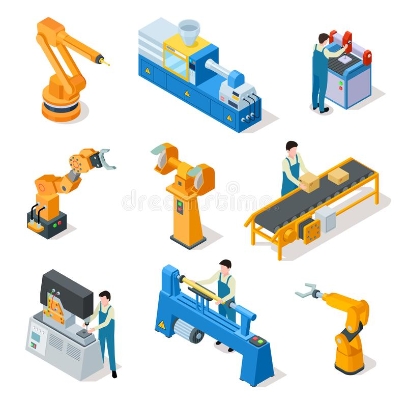 Industrial robots. Isometric machines, assembly line elemets and robotic arms with workers. 3d manufacturing vector illustration