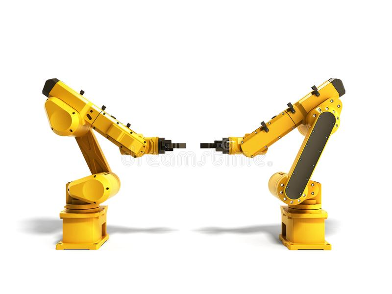 Industrial robots on white background 3D rendering. Industrial robots on white background 3D royalty free illustration