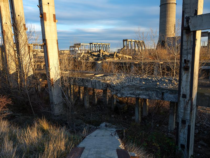 Industrial ruins at sunset. Landcape with industrial ruins at sunset royalty free stock images