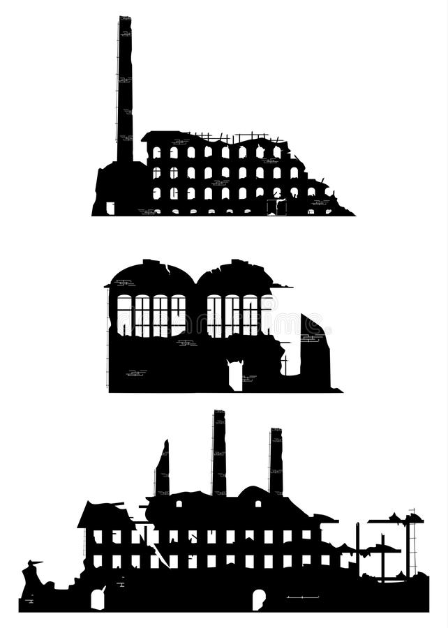 Download Industrial Ruins On A White Background. Stock Vector - Image: 32909745