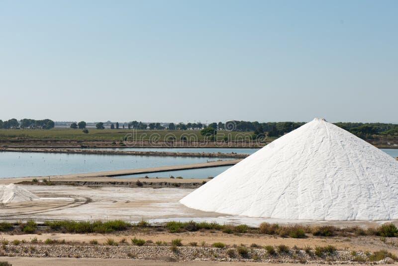 Industrial salt production in Aigues-Mortes, Gard department, Lanquedoc-Roussillon region, Camargue, south of France. Industrial salt production in Aigues-Mortes stock image
