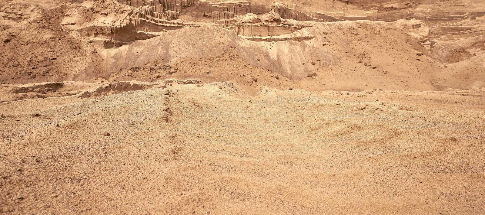 Industrial sand quarry. The development of the sand pit. Construction industry. royalty free stock photography