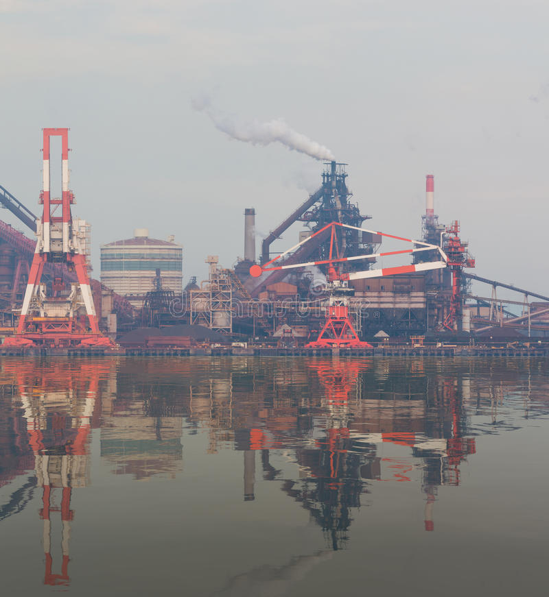 Industrial scene background. Landscape of industry at port. Business industries and transportation by ship. Cargo industry background stock image