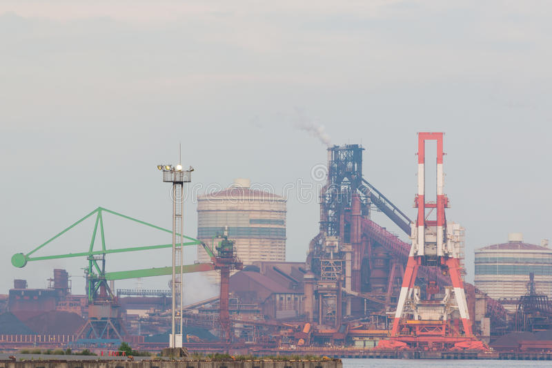 Industrial scene background. Landscape of industry at port. Business industries and transportation by ship. Cargo industry background stock images