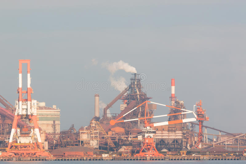 Industrial scene background. Landscape of industry at port. Business industries and transportation by ship. Cargo industry background stock photo