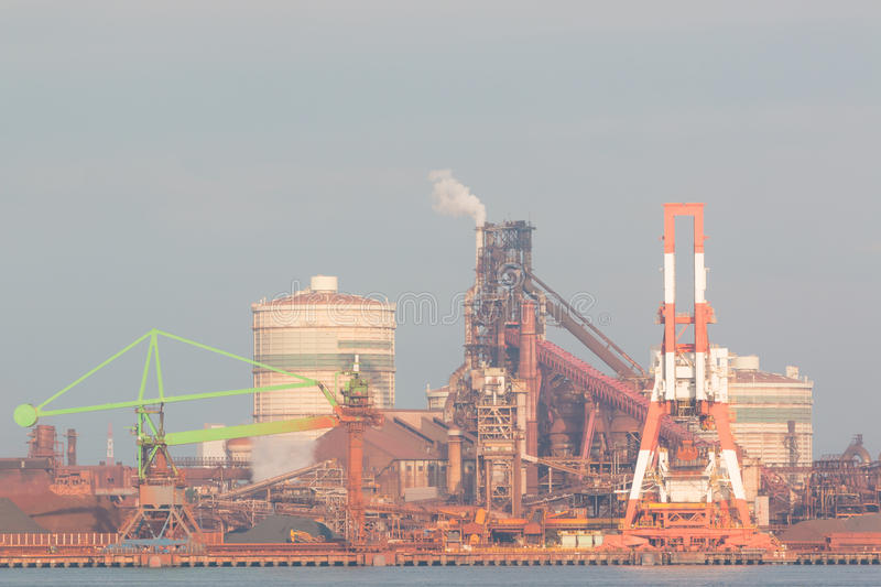 Industrial scene background. Landscape of industry at port. Business industries and transportation by ship. Cargo industry background stock photos