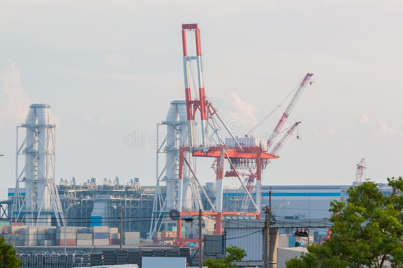 Industrial scene background. Landscape of industry at port. Business industries and transportation by ship. Cargo industry background royalty free stock images