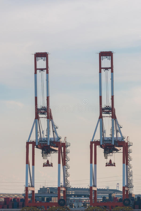 Industrial scene background. Landscape of industry at port. Giant crane Industrial scene background. Landscape of industry at port. Business industries and royalty free stock photography