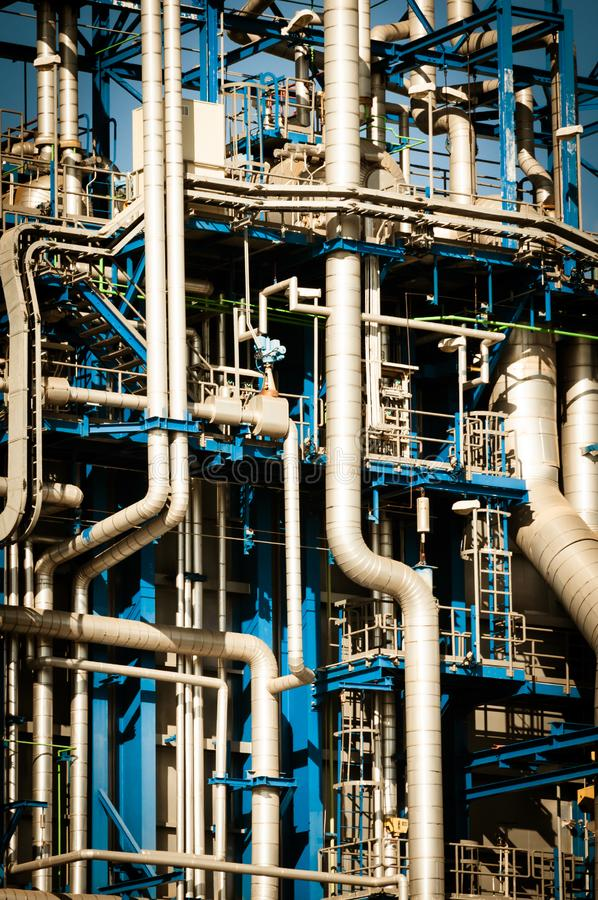 Industrial scene: refinery piping details stock image