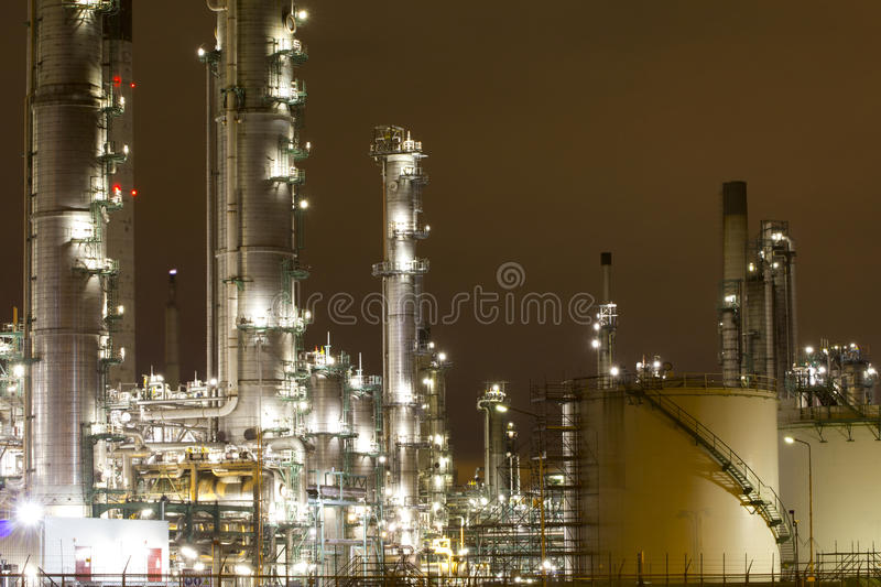 Industrial scenery at night royalty free stock photos