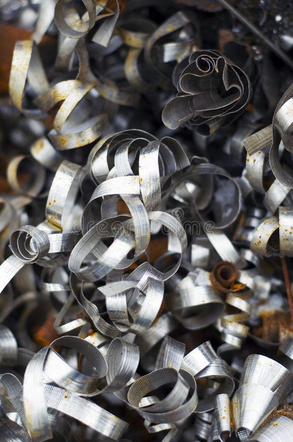 Industrial Scrap Steel. Or Swarf from Engineering Company, Slightly Rusted stock photos