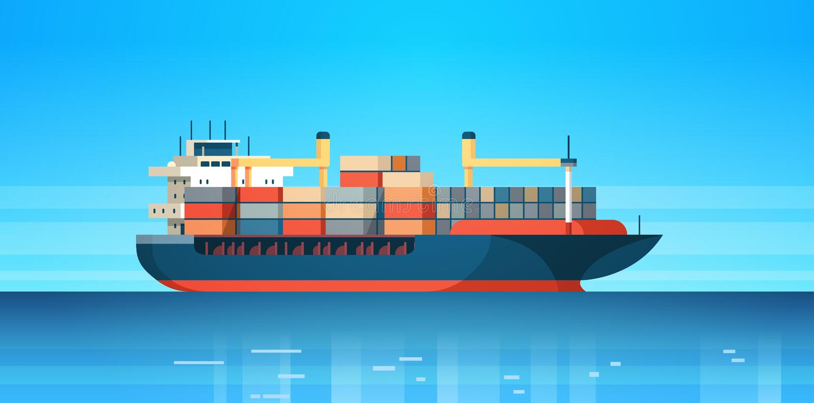 Industrial sea cargo logistics container import export freight ship water delivery transportation concept international. Shipping flat horizontal vector stock illustration