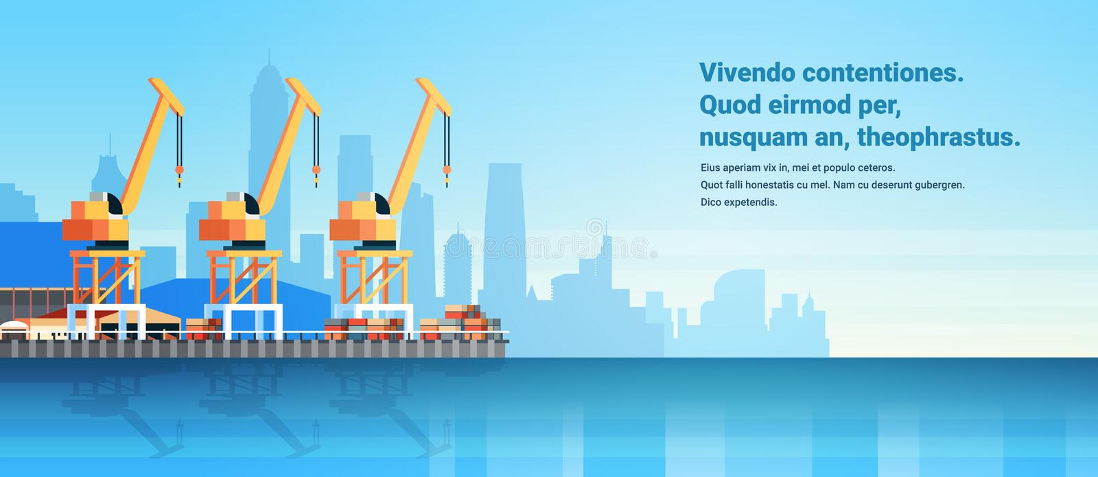 Industrial sea port cargo logistics container import export crane water delivery transportation concept shipping dock. Flat horizontal copy space vector stock illustration