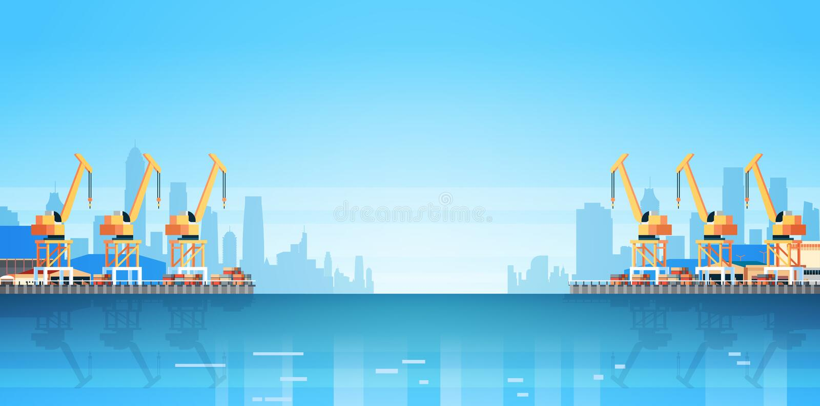 Industrial sea port cargo logistics container import export crane water delivery transportation concept shipping dock vector illustration