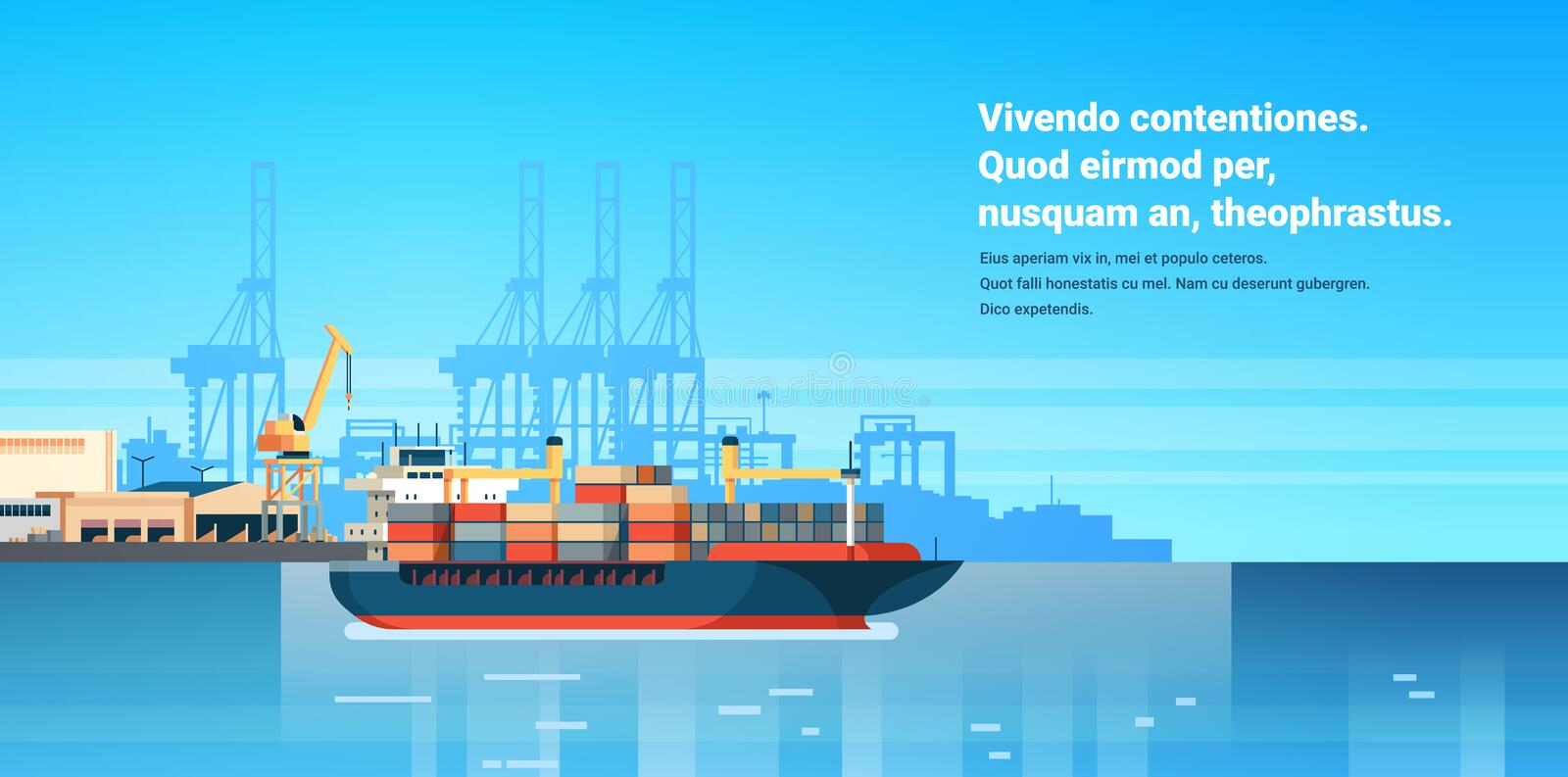 Industrial sea port cargo logistics container import export freight ship crane water delivery transportation concept. Shipping dock flat horizontal copy space stock illustration