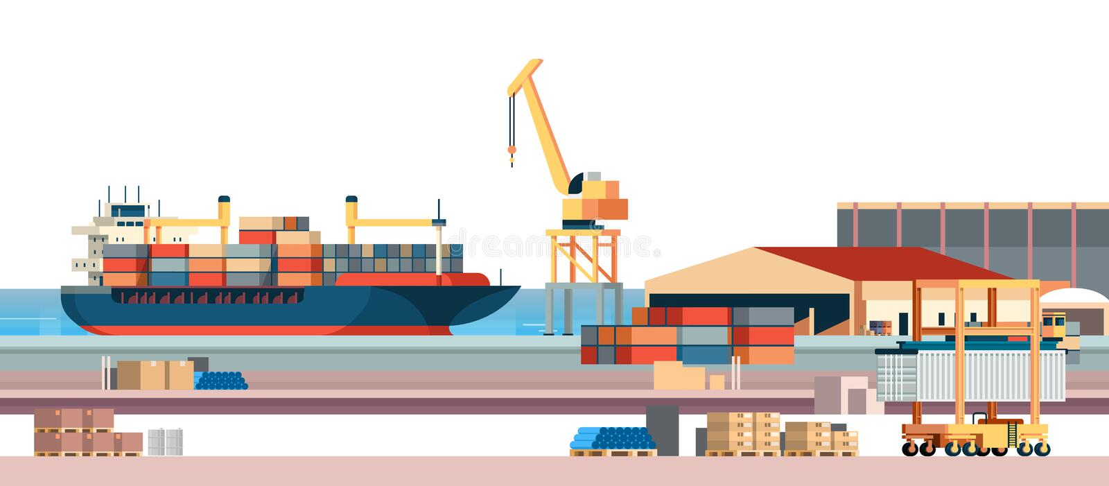 Industrial sea port cargo logistics container import export freight ship crane water delivery transportation concept vector illustration