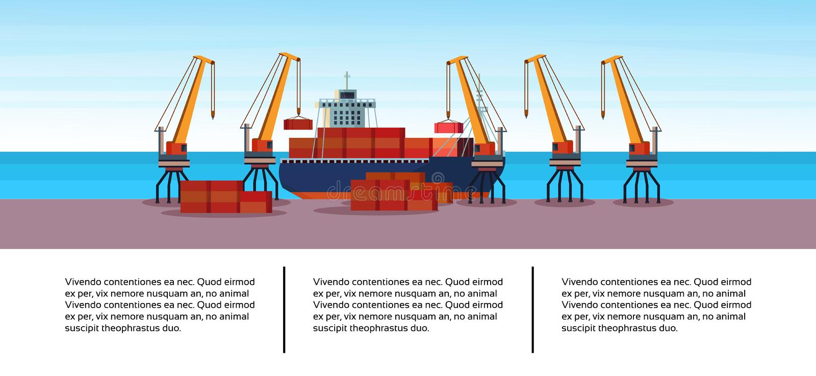 Industrial sea port freight ship cargo crane business infographic template container loading water delivery concept vector illustration