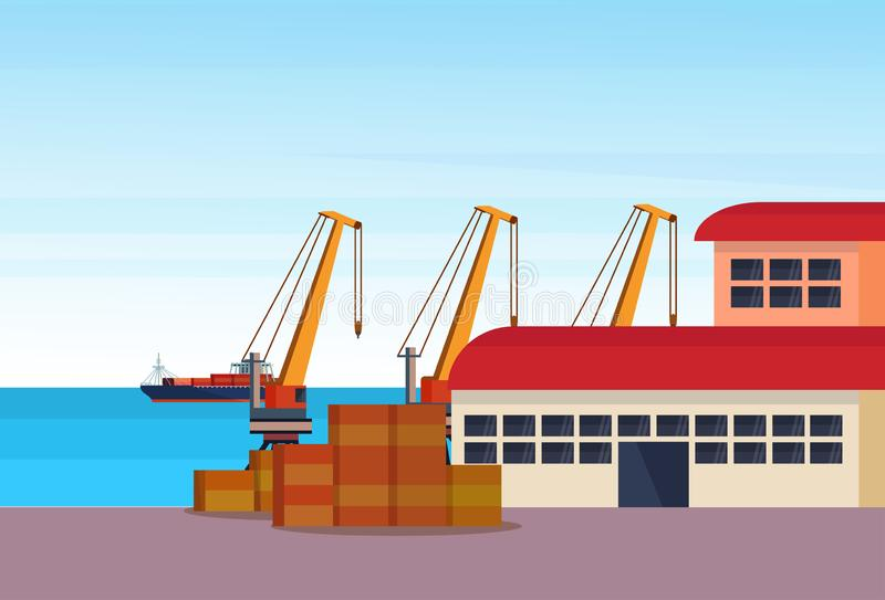 Industrial sea port freight ship cargo crane logistics container loading warehouse water delivery transportation concept. International shipping seaside flat royalty free illustration