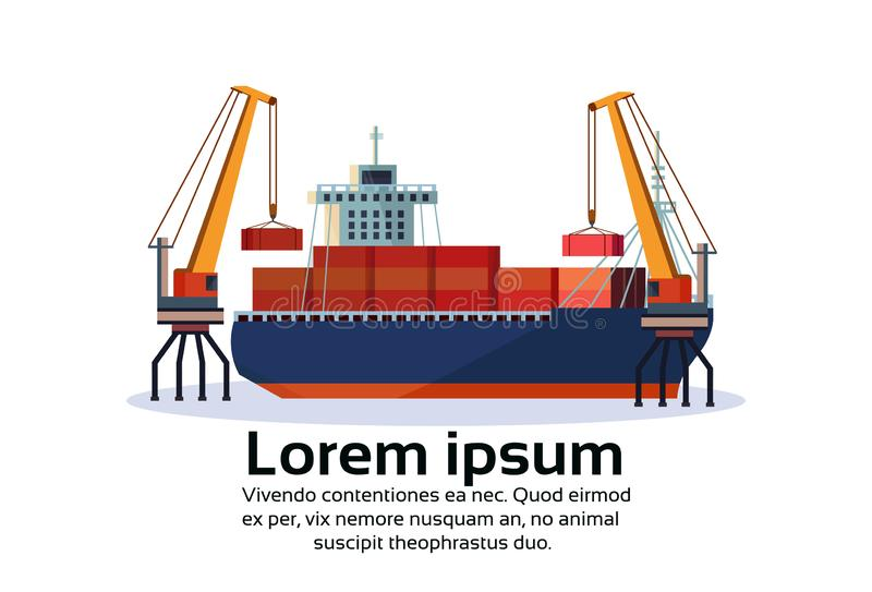 Industrial sea port freight ship cargo crane logistics container loading water delivery transportation concept vector illustration