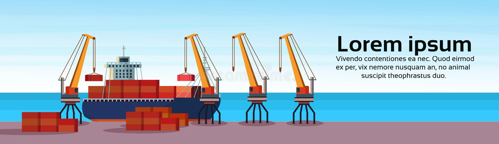 Industrial sea port freight ship cargo crane logistics container loading water delivery transportation concept. International shipping seaside flat horizontal stock illustration