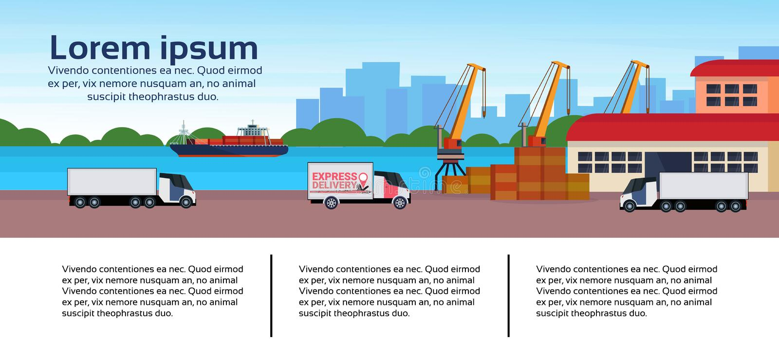 Industrial sea port freight ship cargo minivan crane logistics business infographic template loading warehouse delivery. Concept shipping seaside flat royalty free illustration