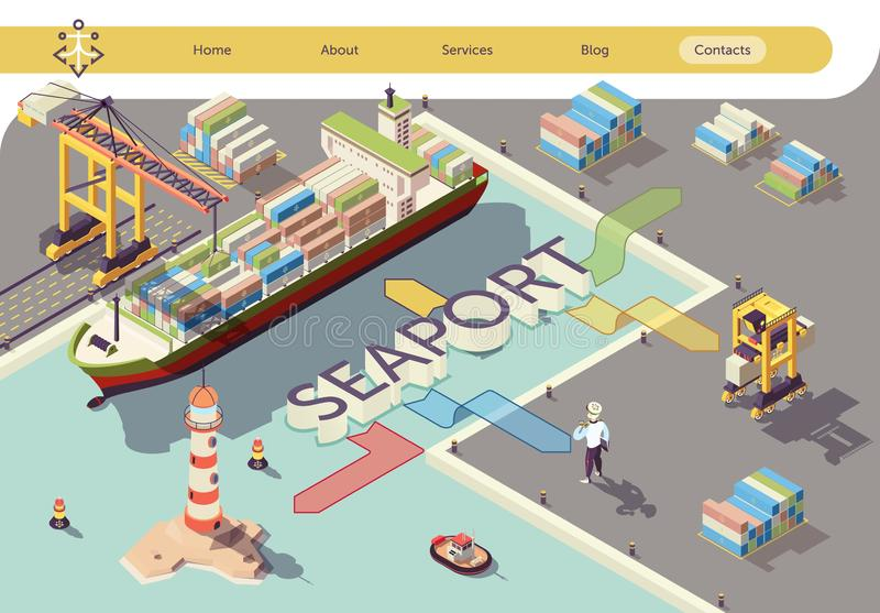 Industrial Seaport Flowchart Isometric Banner stock illustration