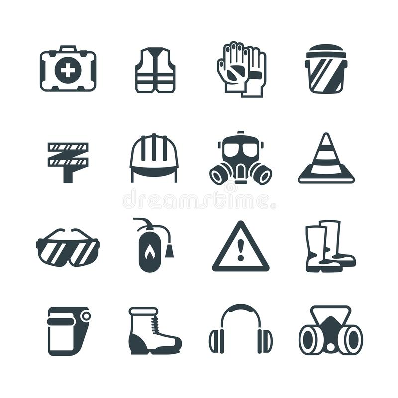 Industrial security, occupational safety work and healthcare. Protective clothing and equipmen vector icons isolated royalty free illustration