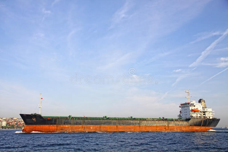 Industrial ship at Bosphorus strait royalty free stock photo