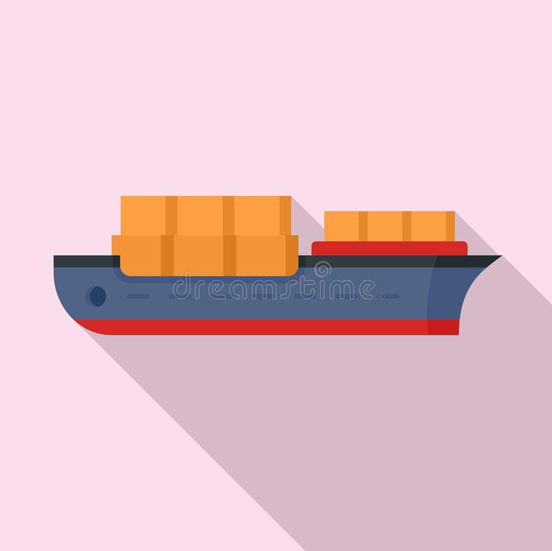 Industrial ship icon, flat style. Industrial ship icon. Flat illustration of industrial ship vector icon for web design royalty free illustration